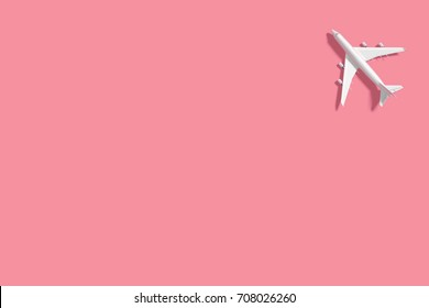 3D Rendering : illustration of top view or flat lay traveling conceptual with airplane. transportation concept. colorful background. summer vacation. copy space for graphic editor