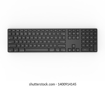 3D rendering illustration topview of a black Qwerty keyboard.