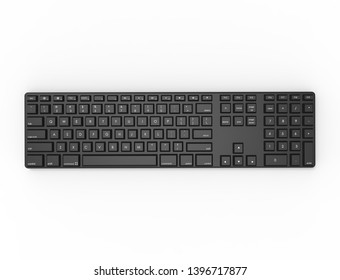 3D rendering illustration topview of a Qwerty keyboard isolated on white background