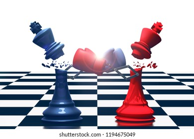 3D rendering : illustration of two king chess fighting together. king chess punching and destroying the king with boxing glove on chess board. knock with secret weapon business concept.