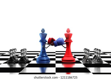 3D rendering : illustration of two king chess fighting together. king chess punching and destroying the king with boxing glove on chess board.