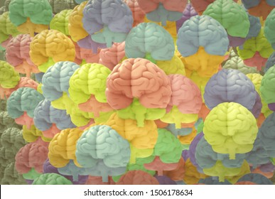 3D rendering illustration various colorful of human brains crowd pattern background