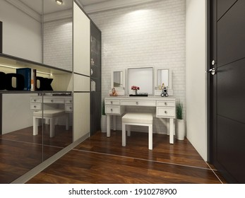 3d rendering, 3d illustration - Walk in closet Design with White Classic Dressing Table and Wardrobe Clothes Cabinet. Using parquet flooring and sliding door with mirror material.