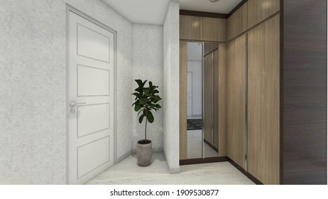 3d rendering, 3d illustration - Wardrobe Design in simple traditional style. Using dark wooden materials for cabinet body and light wooden grain for the doors.