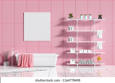 3D Rendering : illustration of white ceramic modern bathtub in bright and clean bathroom. white shiny floor. shelf of accessory for take a bath. towel at bathtub. frame hanging with clipping path