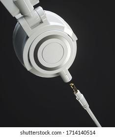 3D-Rendering-Illustration, weiß, moderner Kopfhörerhintergrund