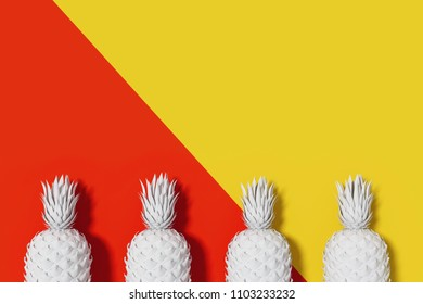 3D Rendering : illustration of white four pineapple mock up with colorful background. pineapple put on flay lay. summer fresh fruit concept. fruit background. high resolution