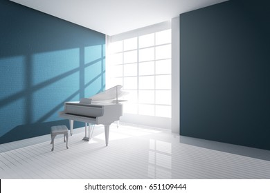 3d rendering : illustration of White room with white wooden open grand piano and chair standing close window. light from outside. Minimalist interior design with copy space. classic modern music room