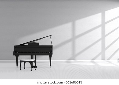3d rendering : illustration of White room with black wooden open grand piano and chair standing close window. light from outside. Minimalist interior design with copy space. classic modern music room