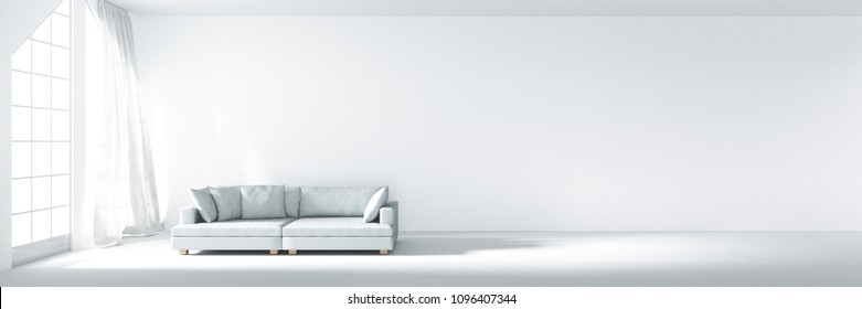3D rendering : illustration of white sofa in panorama room decorating your new home concept. re-new your home concept. peace place for living. move into new home. white curtain with wind be blowing