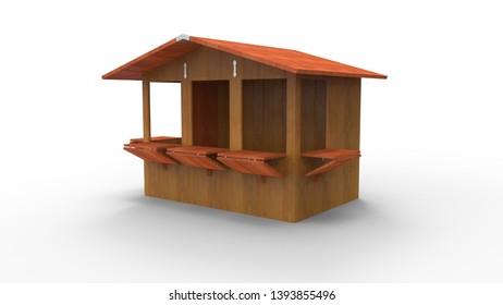 3d rendering, 3d illustration, wooden house, kiosk, summerhouse