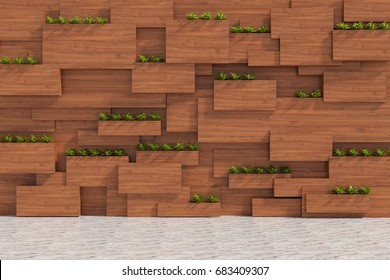 3D rendering : illustration of wooden with plant wall in modern interior and white marble floor. wooden blocks and vertical garden. inside or outside design of modern loft house or condo