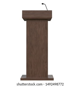 3D rendering illustration of a wooden podium with a microphone