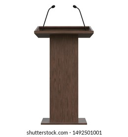 3D rendering illustration of a wooden podium with two microphones