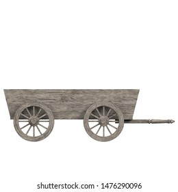 3D rendering illustration of a wooden wagon