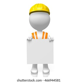 3D rendering/ 3D illustration - worker holding a board/ piece of paper - great for advertising/ announcement purposes.