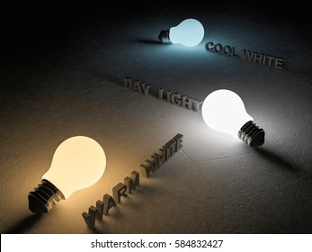 3D rendering image of 3 light bulb or lamps place on the cracked concrete floor. Night scence perspective. Color temperature scale. Cool white,warm white, day light. different 3 colors of light effect