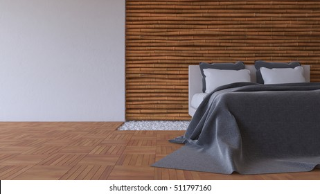 3d rendering image of bedroom, White and dark gray bed on leather base in the hole of the parquet floor filled with white stone. Bamboo wall and cracked concrete wall