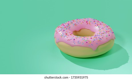 3D rendering image of Donut with pink strawberry flavour icing, topping with colorful sprinkles. Illustration image 3D with copy space for text.
