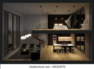 3d rendering image of double space apartment in living box,White fabric curtains being blown by wind, perspective view in night time