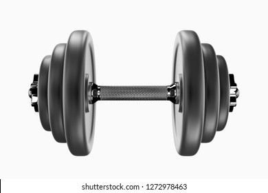 3D rendering image of a dumbbell for sports. Bodybuilding equipment on white background