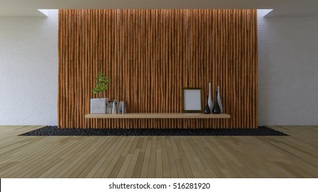 3D rendering image of empty room which have bamboo and brick wall, wooden floor which have filled black stone in the hole,minimalist decoration style interior design, simple living space design
