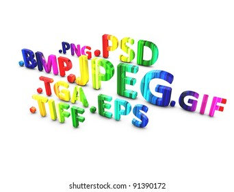 3d rendering, image file format in 3d text, isolated on white.