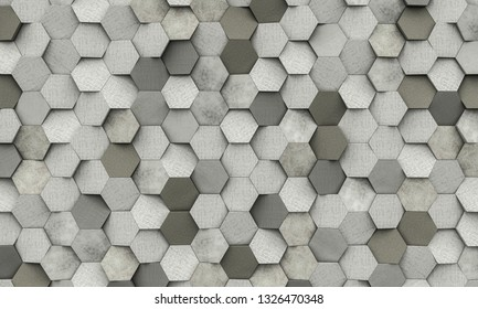 3d rendering image of geometric hexagon shapes background