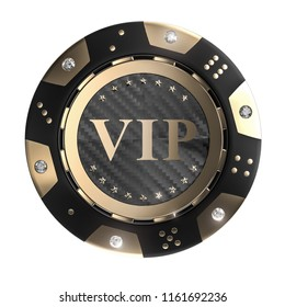 3d rendering image of golden and carbon vip chip with diamond