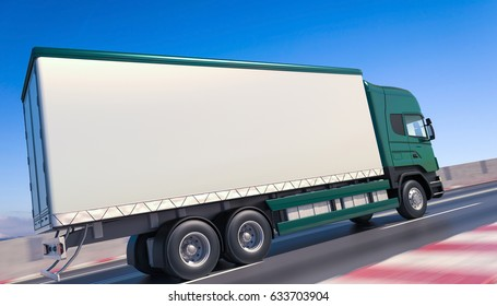 3d Rendering Image of a Green Truck