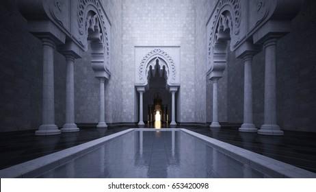 3d rendering image of modern islamic style interior design.