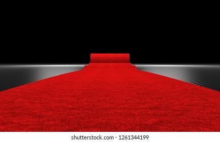 3d rendering image of red carpet and carbon fiber background