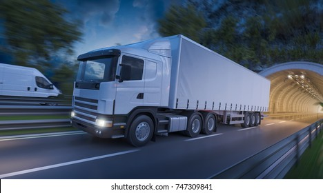 3d rendering of Image of a Semi Trailer Truck and a Delivery Van on the Road