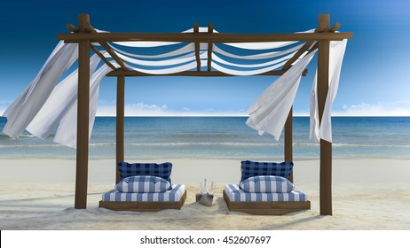 3D rendering image of timber tent which cover by fabric located on the beach,  curtain being blow by wind from the sea, white and blue day bed