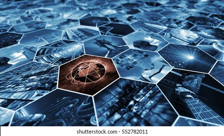3d rendering. Image wall in honeycomb pattern connecting the world