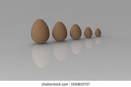 3D rendering. 3D image.eggs of different sizes on a white background. growth in something. gradation