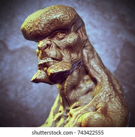 3d rendering of imaginative fantasy fiction creature monster close up head shot