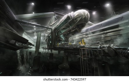 3d rendering of imaginative futuristic science fiction fantasy underground research repair station laboratory for vehicle ship