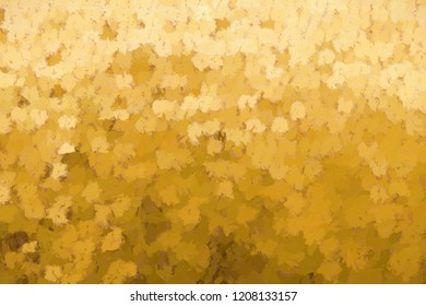 3d rendering of impasto painting of autumn leaves