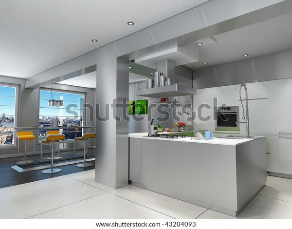 3d Rendering Impressive Kitchen Breathtaking Urban Stock