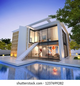 3D rendering of an impressive modern house with pool