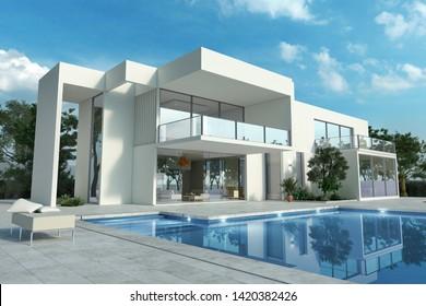 3D-Darstellung eines eindrucksvollen, weißen modernen Hauses mit Pool