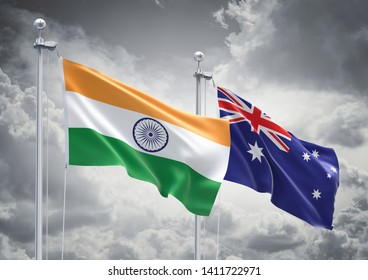 3D Rendering of India & Australia Flags are Waving in the Sky - 3d illustration