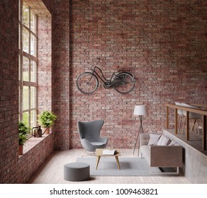 3D Rendering Industrail style living room ,big window ,lamp gray couch and chair, wooden floor, bicycle on the red brick wall