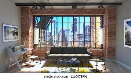 3d rendering, industrial interior.