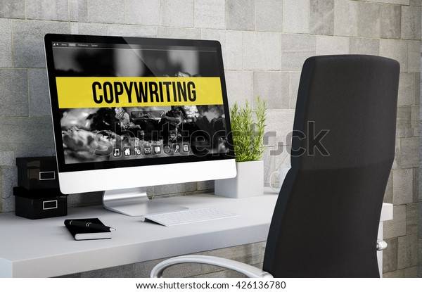 3d rendering of industrial workspace showing copywriting on computer screen. All screen graphics are made up.