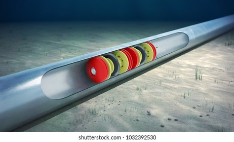 3d rendering of the inline inspection of a subsea pipeline