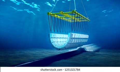 3d rendering of the installation of a concrete mattress on a subsea pipeline