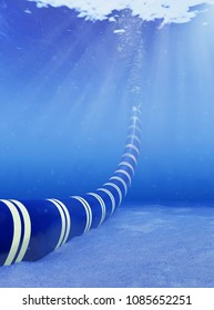 3d rendering of the installation of a subsea cable in shallow water