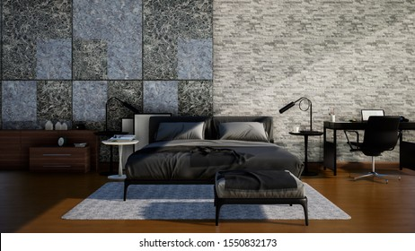 3d rendering interior bedroom, dark tone style decorated with stone wall and wooden floor.